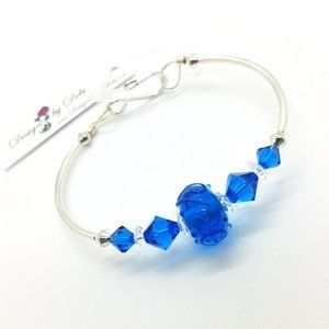 Blue Glass & Swarovski Crystal Fitted Bangle
